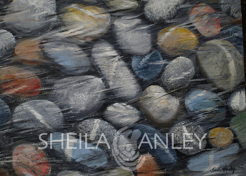 SOLD: Study of Stones 01 - 20 x 30cm Oil on Canvas by Sheila Hanley